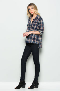 Reversible Plaid Button Down Top