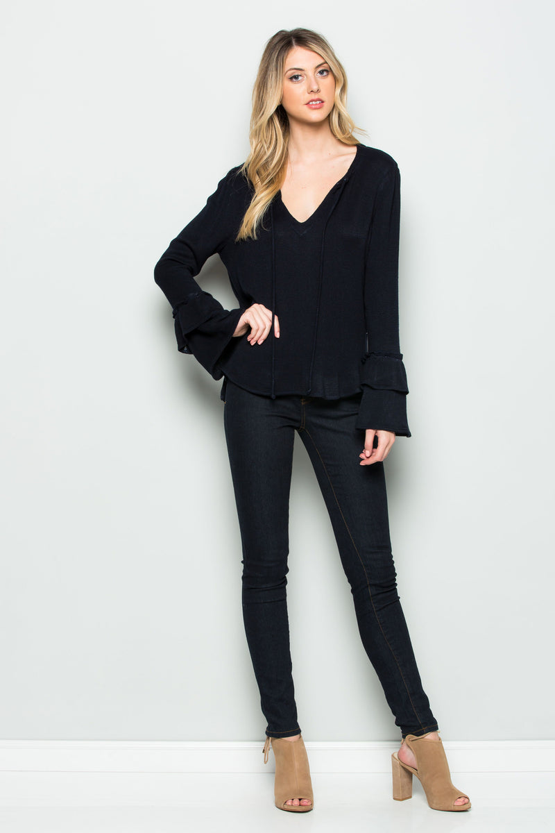 Long Sleeve Ruffle V-Neck Top