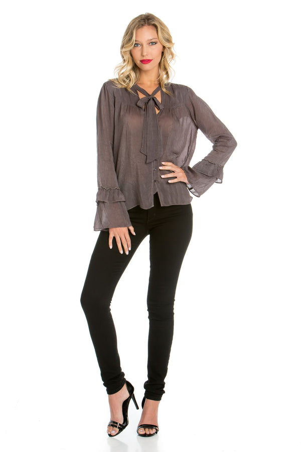 Bell Sleeve Neck Tie Top