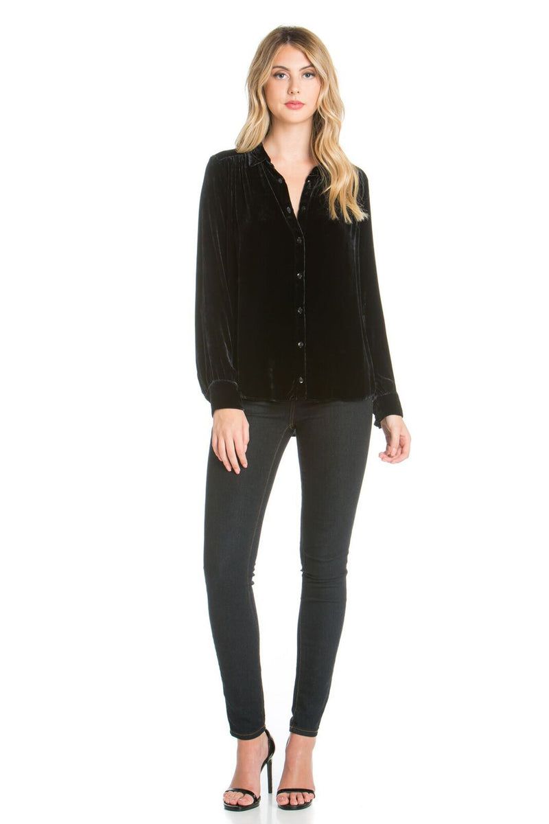Long Sleeve Silk Velvet Button Up Shirt