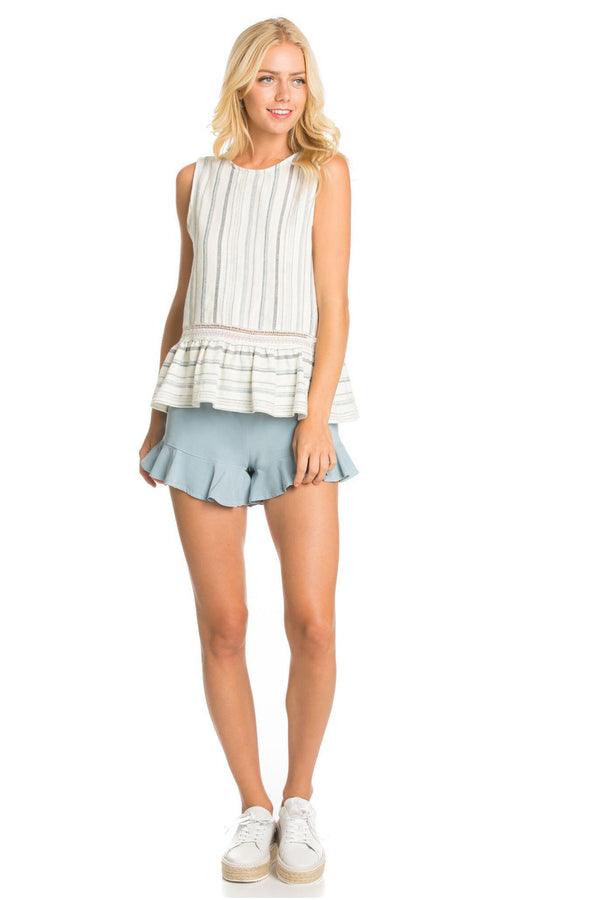 Striped Sleeveless Peplum Top
