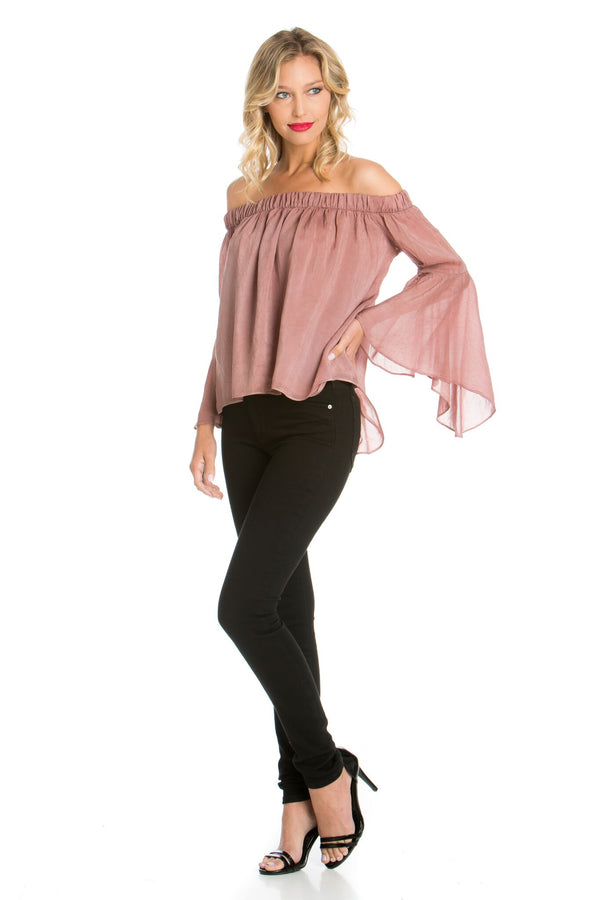 Off Shoulder Sheer Sleeve Top