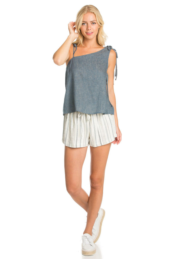 One Shoulder Chambray Top