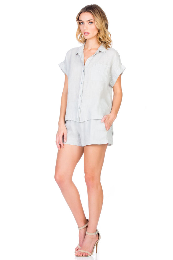 Short Sleeve Button Up Top