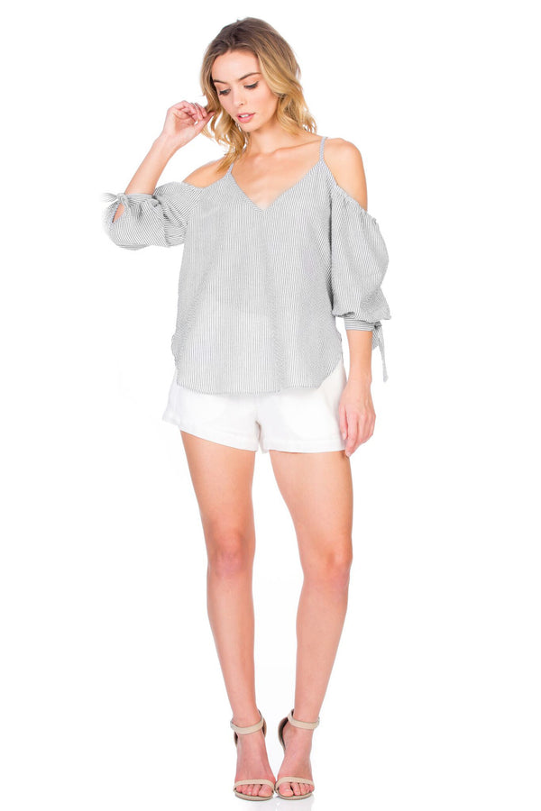 Cold Shoulder Synched Sleeve Top