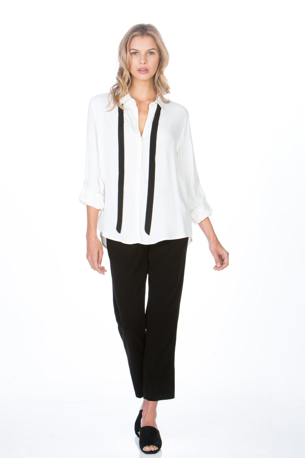 Button Up Contrast Tie Top