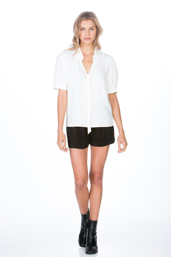Ruffle Neck Short Sleeve Top