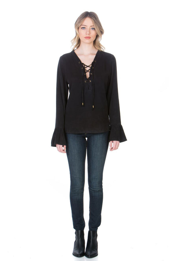 Front Lace Up Long Sleeve Top