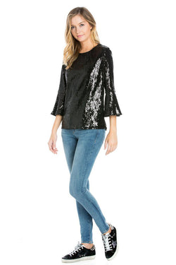3/4 Sleeve Sequin Top