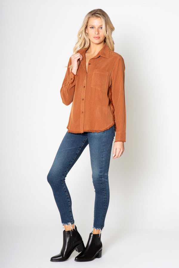 Long Sleeve Fray Button Down Top in Silky Wash Tencel