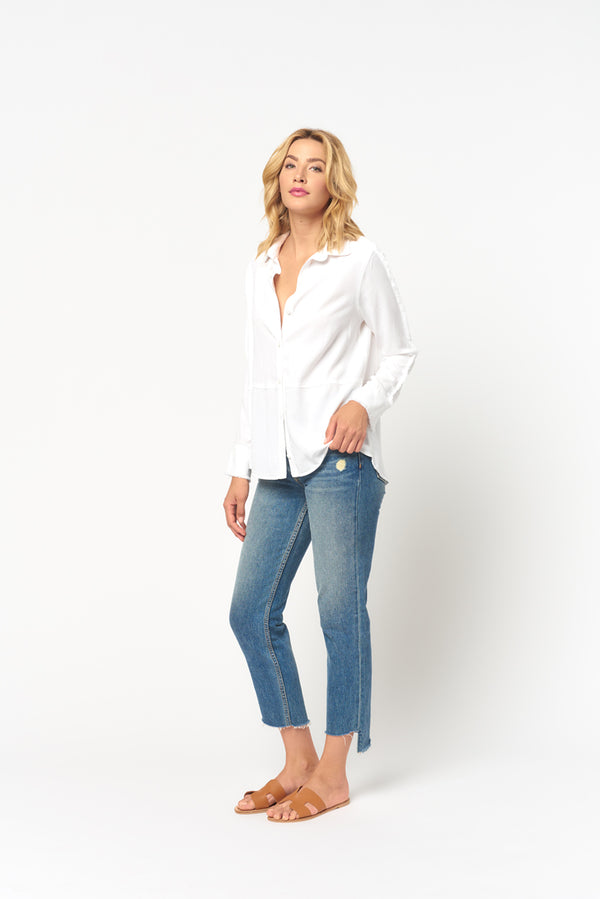 Button Down Fray Top