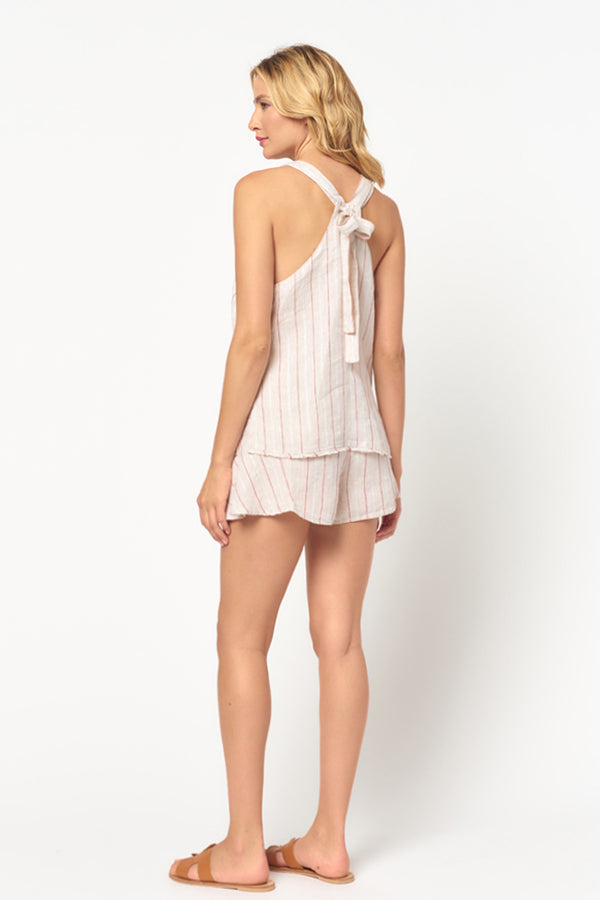 Linen Stripe Tie Back Tank Top