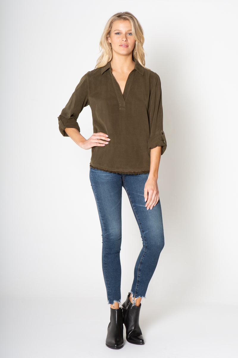 Long Sleeve V neck Fry top
