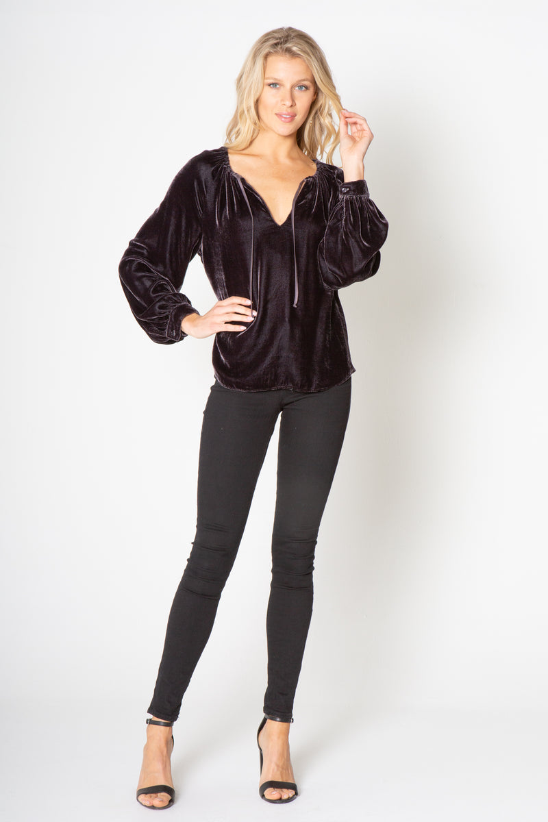 SILK VELVET LONG SLEEVE PEASANT TOP