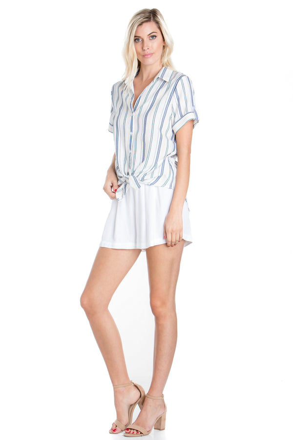 Hampton Stripe Tie Front Top