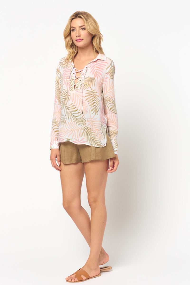 Long Sleeve Lace Up Palm Leaf Top