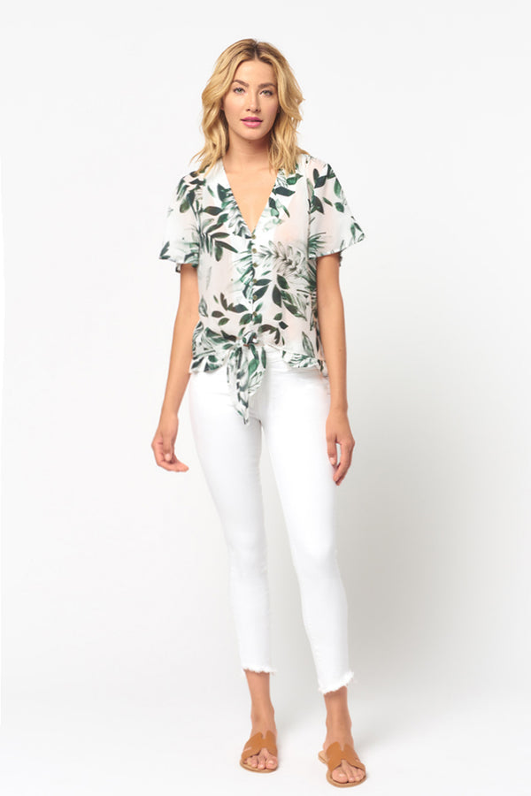 Short Sleeve Tropical Print Top