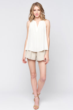 Sleeveless Natural Stripe Top