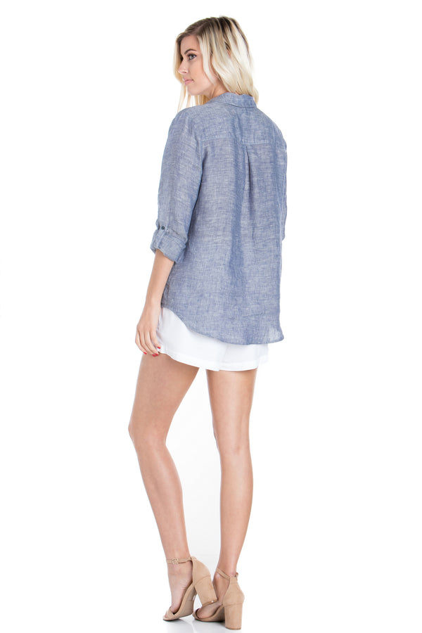 Long Sleeve Chambray Tunic