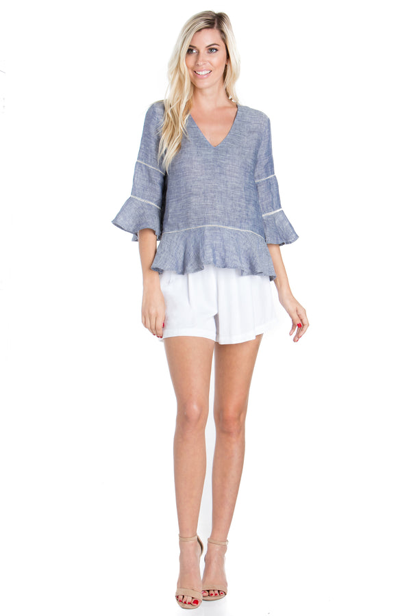 3/4 Lace Linen Peplum Top