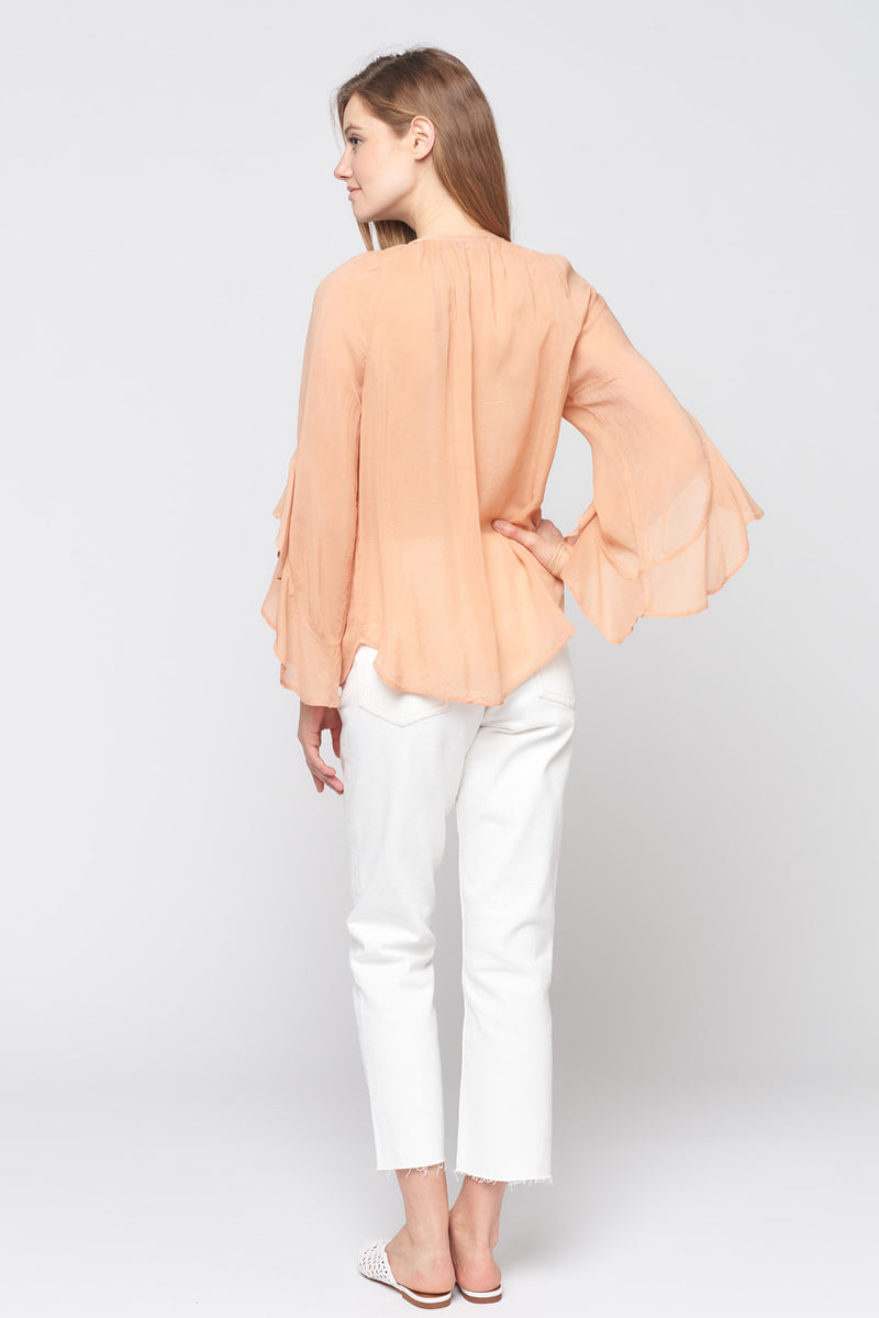 Long Sleeve Ruffle Sleeve Top