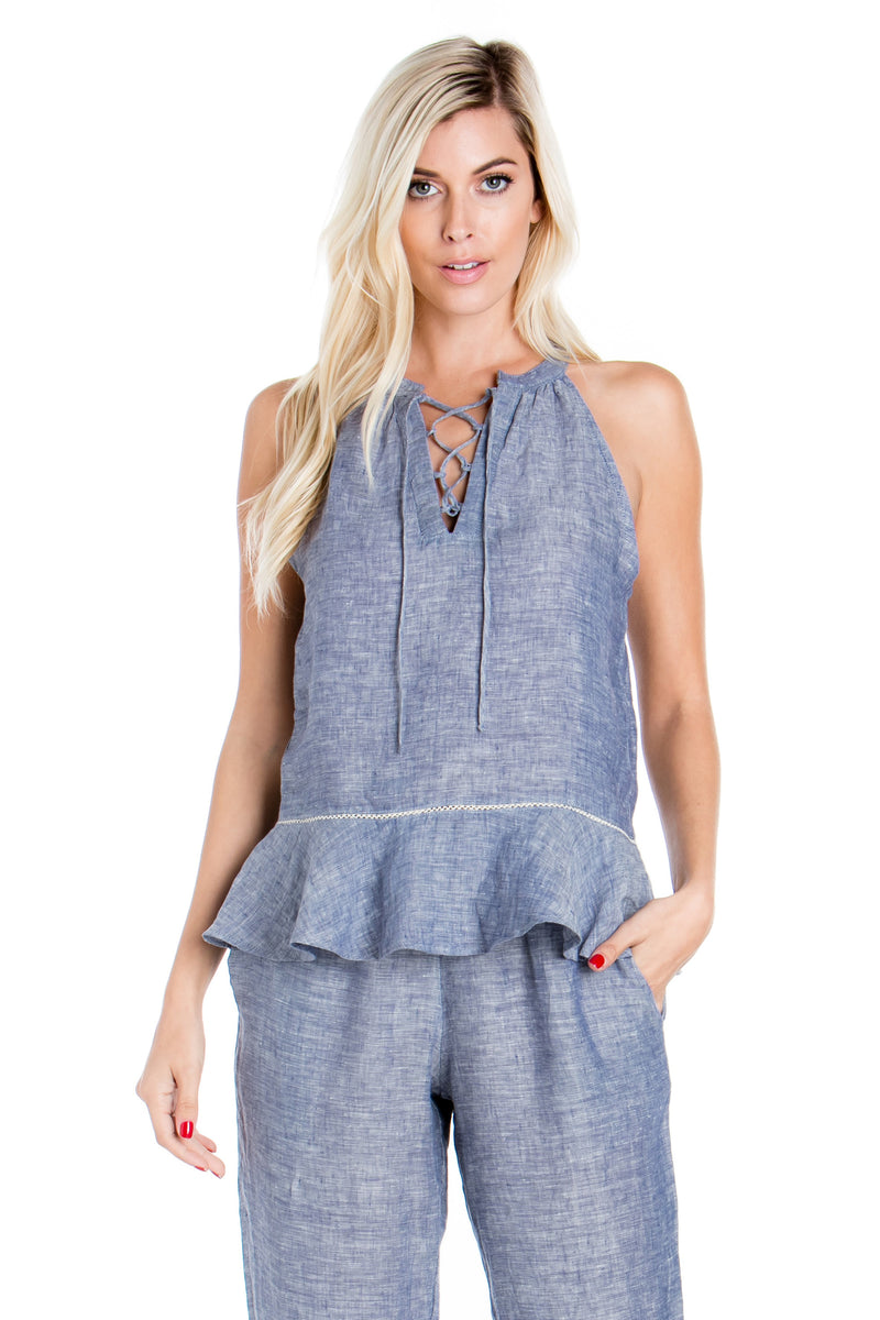 Sleeveless Lace Up Chambray Top