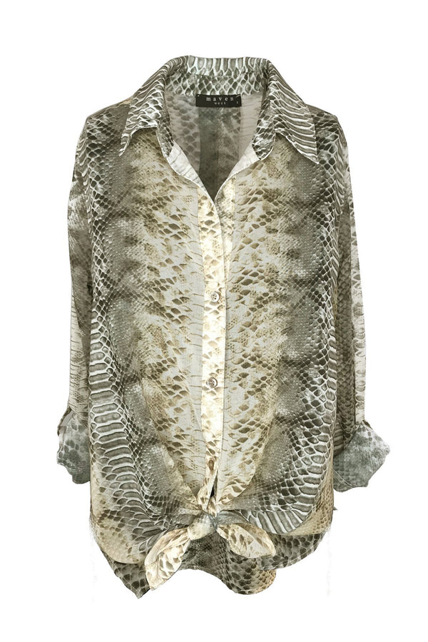 Long Sleeve Python Button Down Top