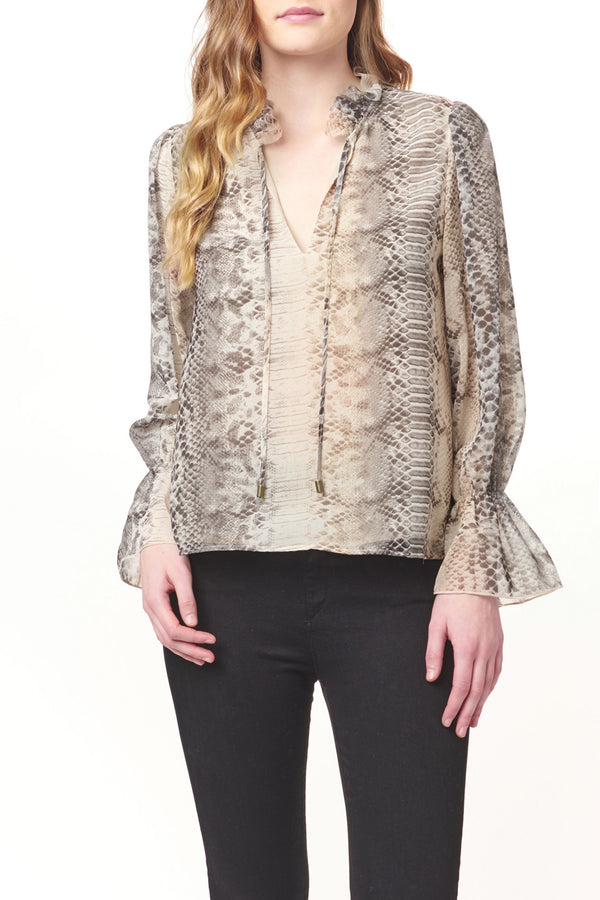Long Sleeve Ruffle Neck Python Top
