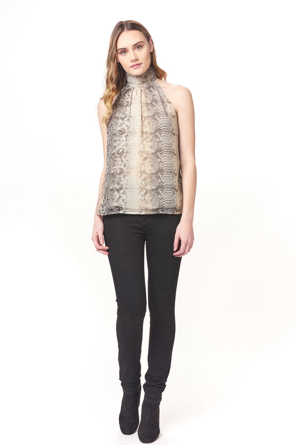 Shirred High Neck Python Top