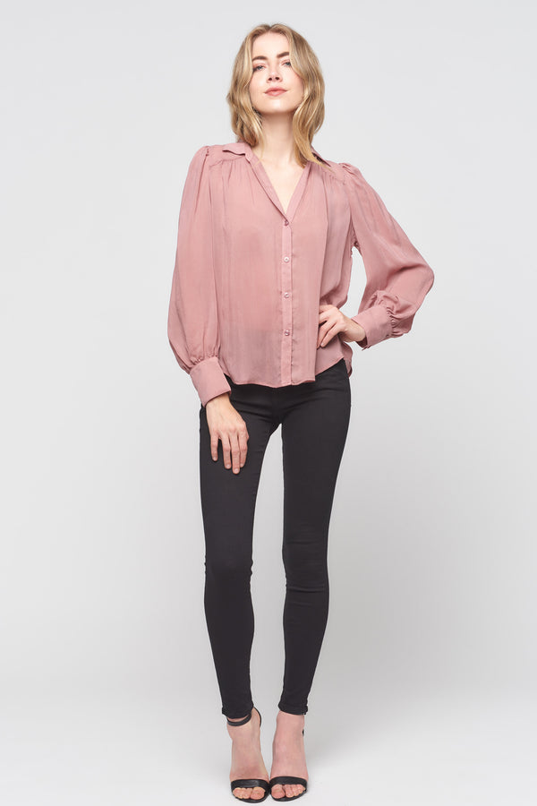 Button Down Flounce Sleeve Top