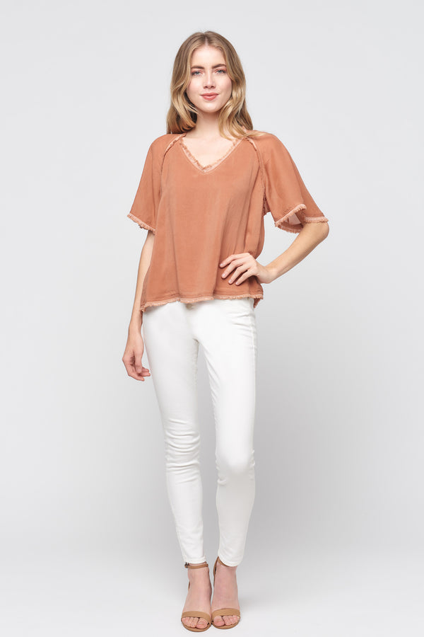 Short Sleeve V-neck Fray Top