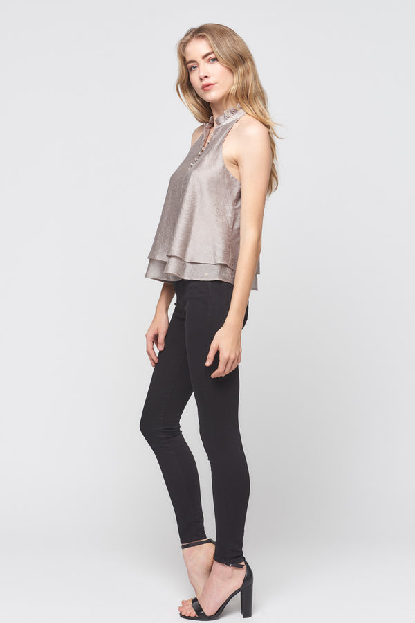 High Neck Double Ruffle Top