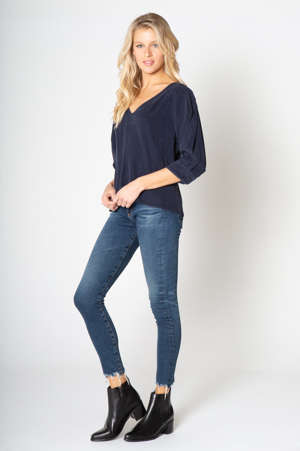 V Neck 3/4 Sleeve Silky Wash Tencel Shirt
