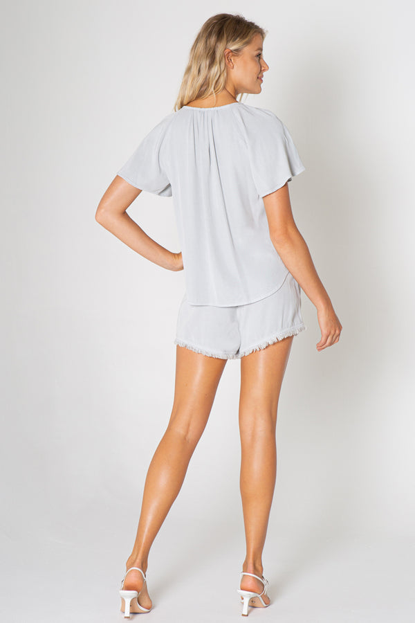 Ruffle Short Sleeve V-neck Top