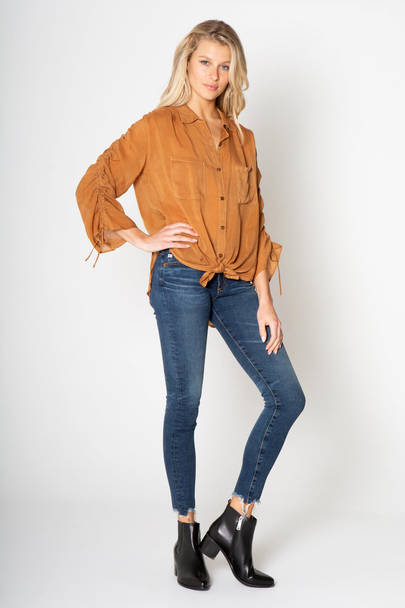 RUCHED LONG SLEEVE BUTTON DOWN TOP