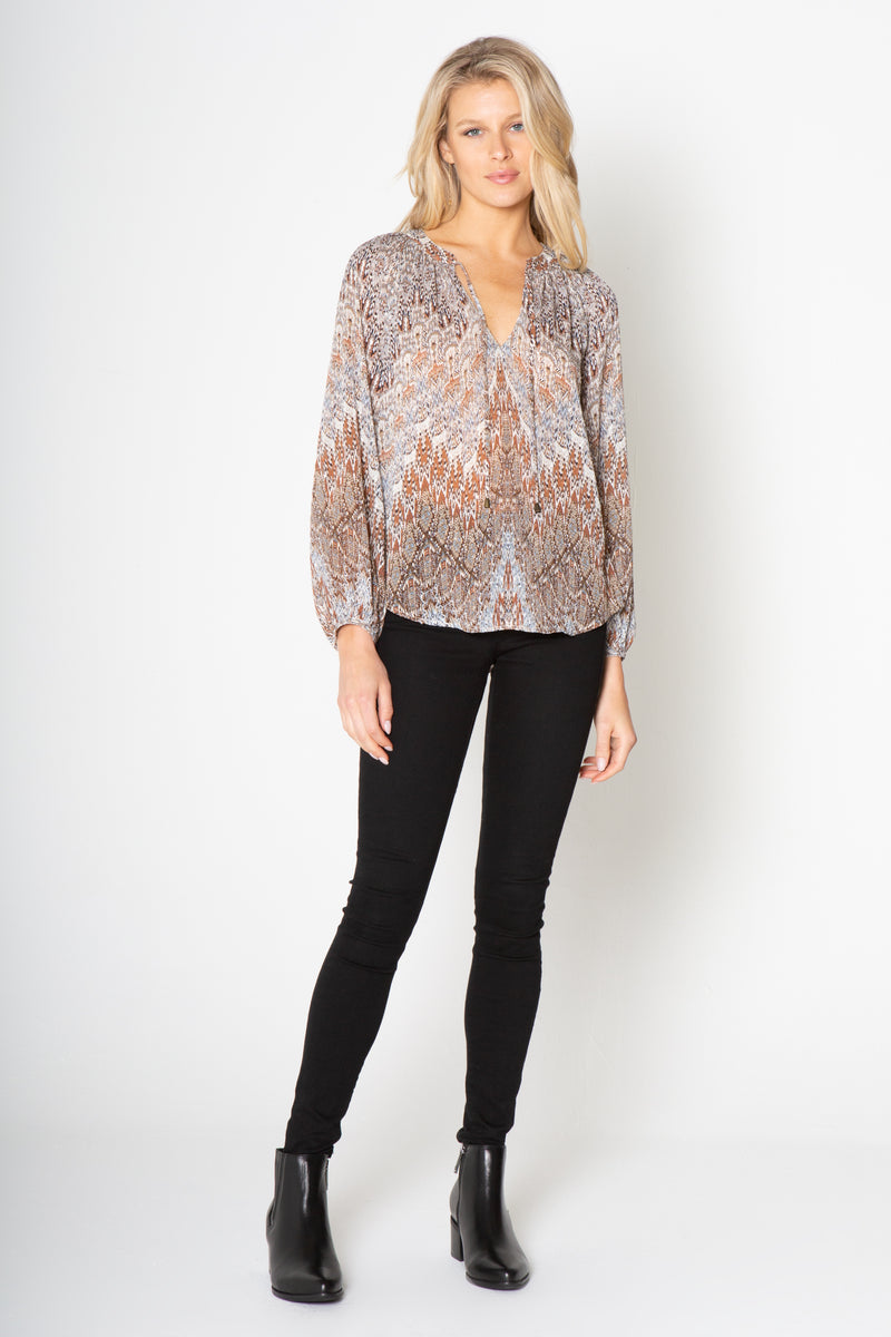 LONG SLEEVE PRINTED PEASANT TOP