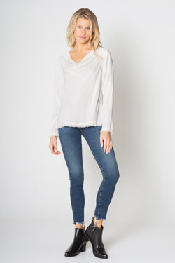 SILKY WASH TENCEL RAW EDGE LONG SLEEVE COWL NECK TOP
