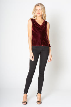 SILK VELVET SLEEVELESS COWEL NECK TOP