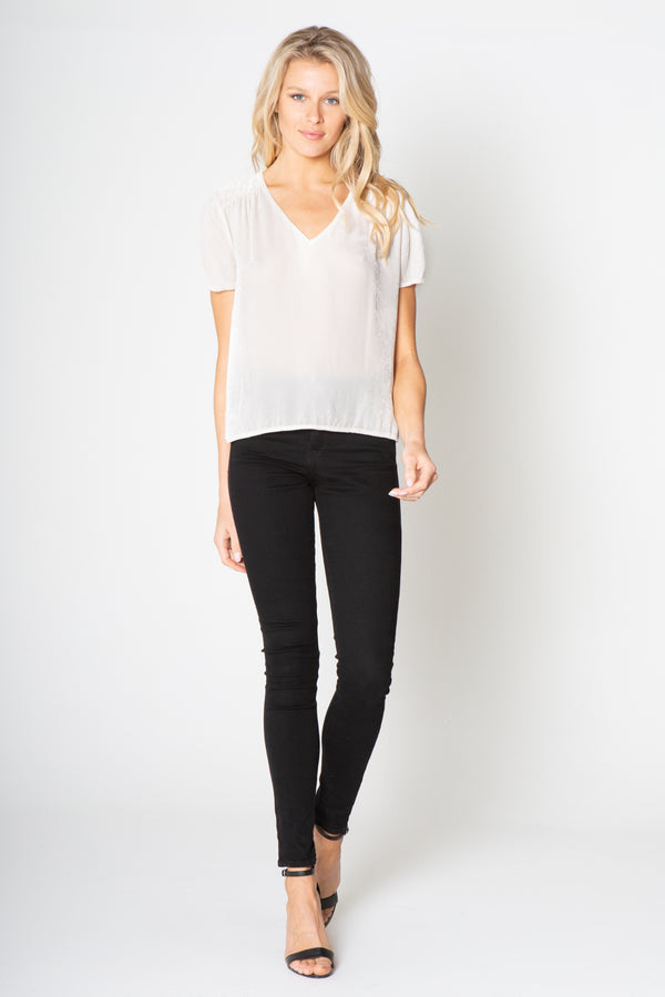 SILK VELVET V NECK TOP