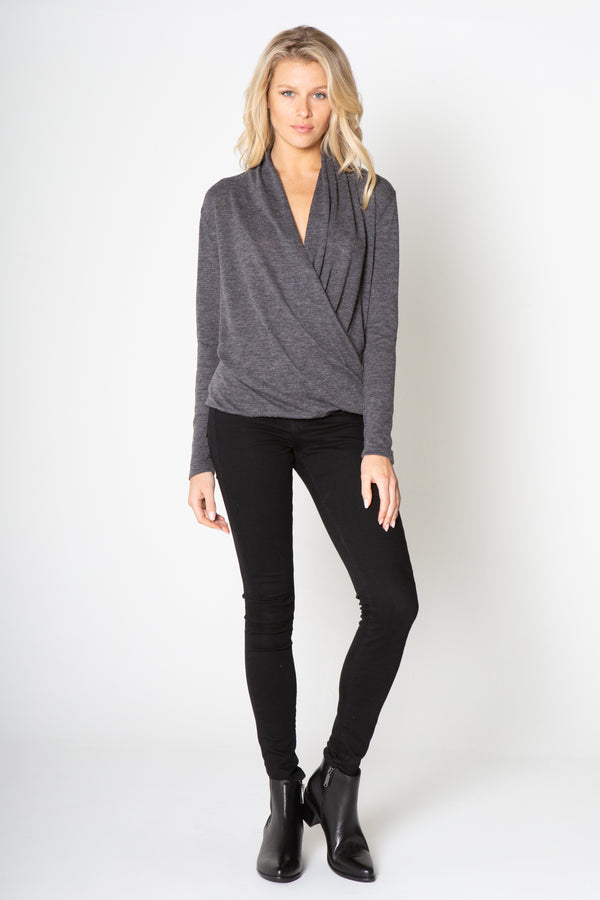 LONG SLEEVE WRAP OVER TOP