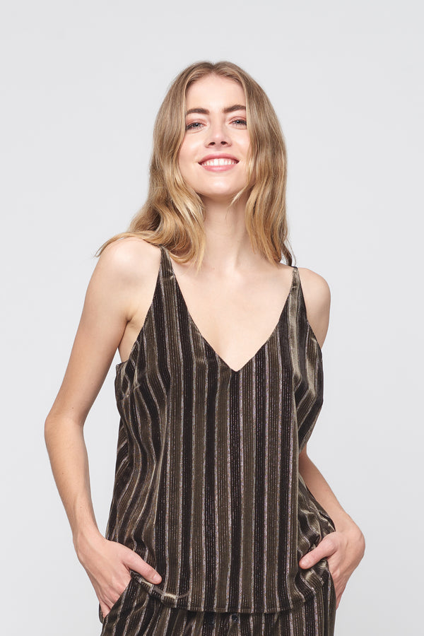 Velvet Stripe Cami Tank Top