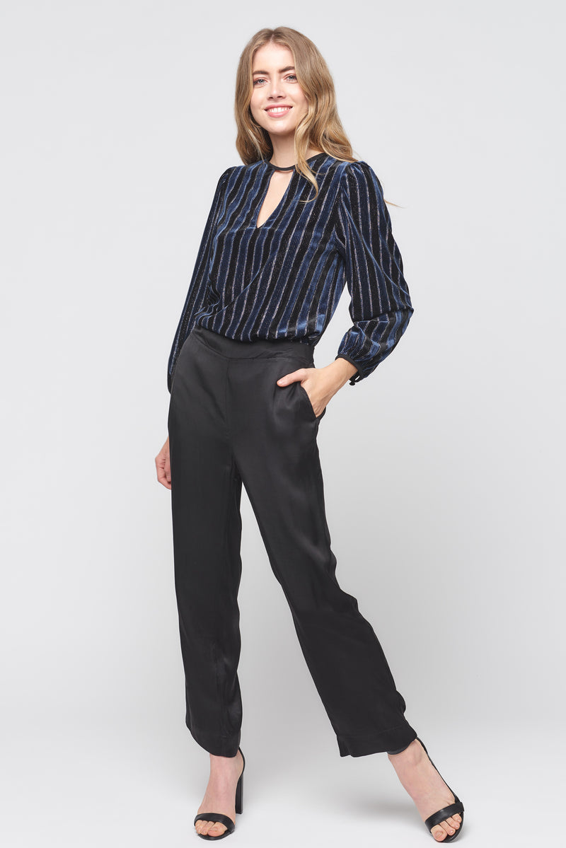Velvet Stripe Long Sleeve Keyhole Top