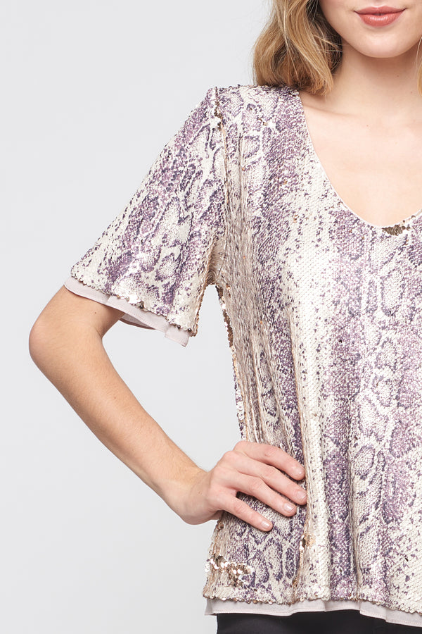 Short Sleeve Python Sequin Top