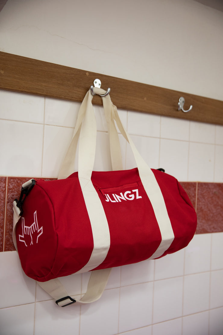 JLINGZ Red Sportsline Barrel Bag