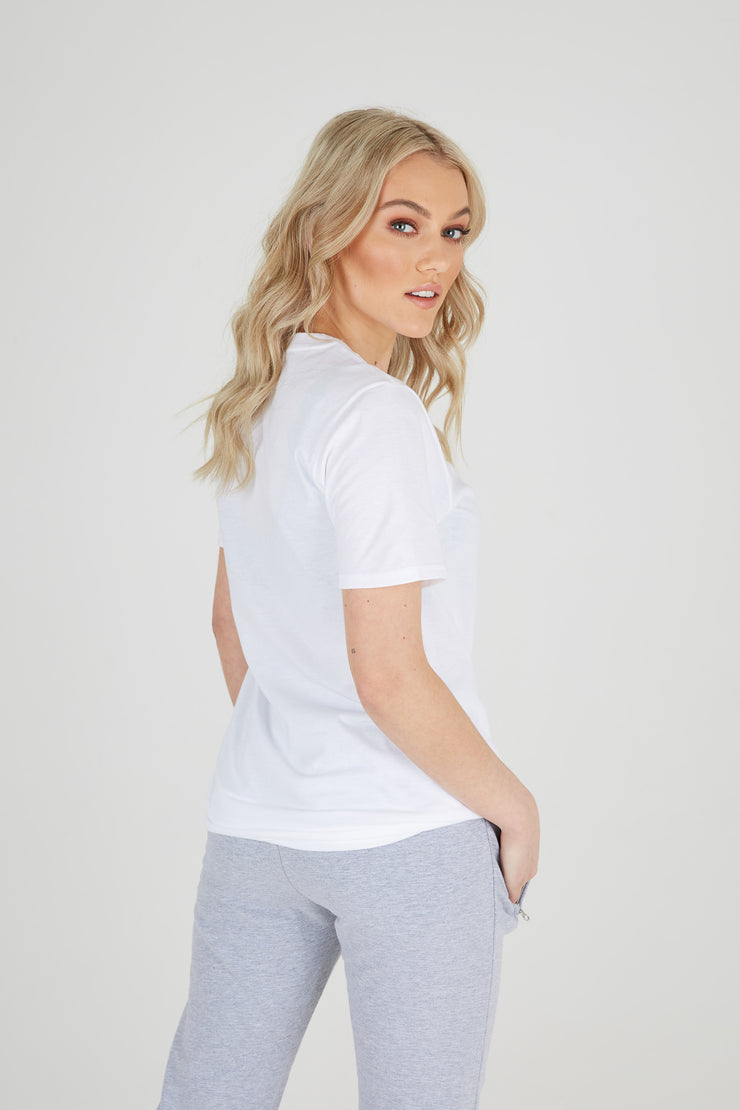JLINGZ Womens Regular Fit Tee | White & Red