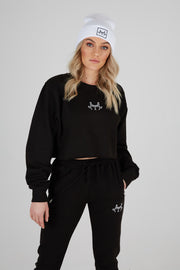 JLINGZ Womens Cropped Sweat | Black