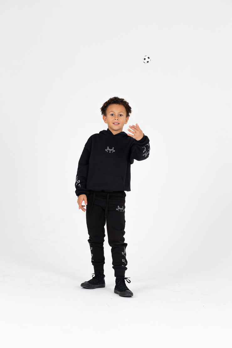 Kids Chevron Black Joggers