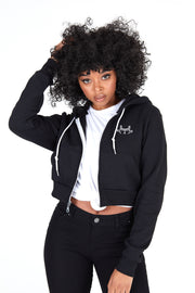 Women's Crop Zip Black Hoodie