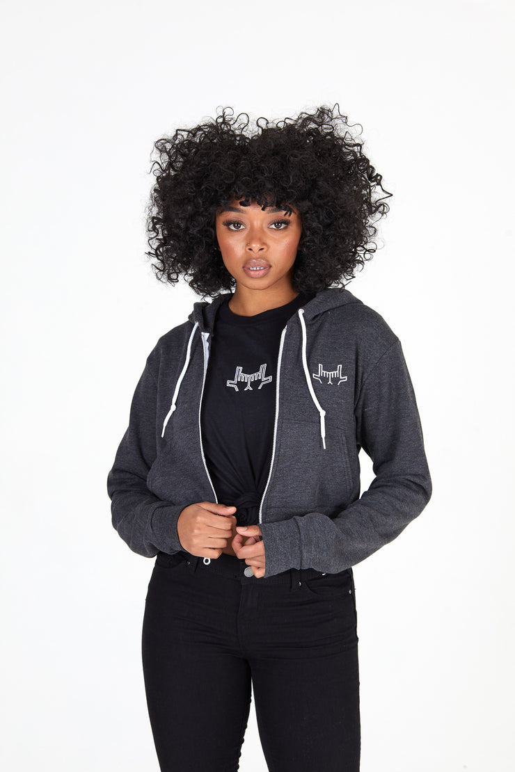 Women's Crop Zip Grey Hoodie