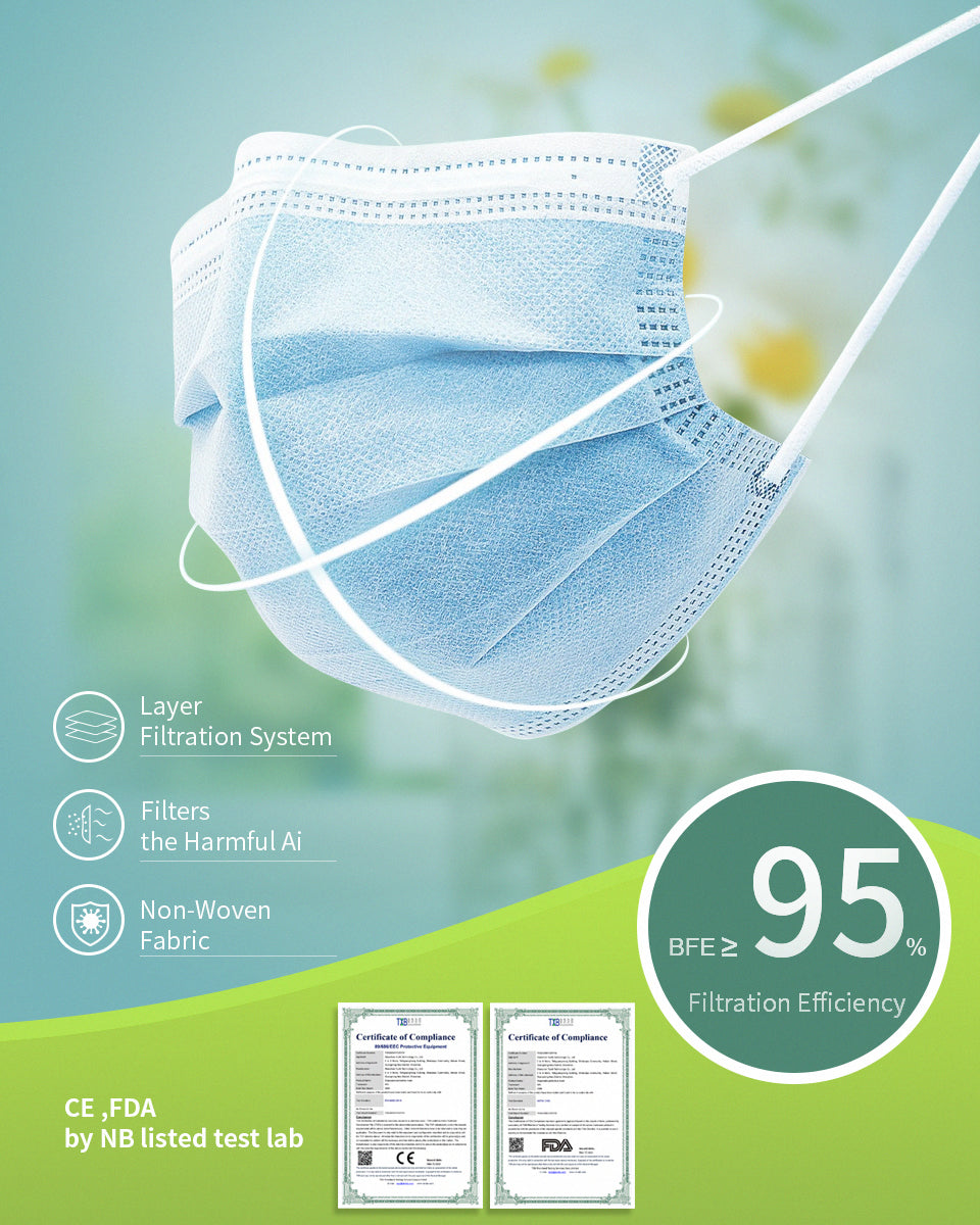 FDA Certified, 3-PLY, Disposable Non-Woven Fabric Face Mask, 50 pcs (Medical Workers, Friends & Family)